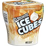 ICE BREAKERS ICE CUBES Chewing Gum, Tropical Freeze Flavor, Sugar Free, 40 Piece Cube Pack Container