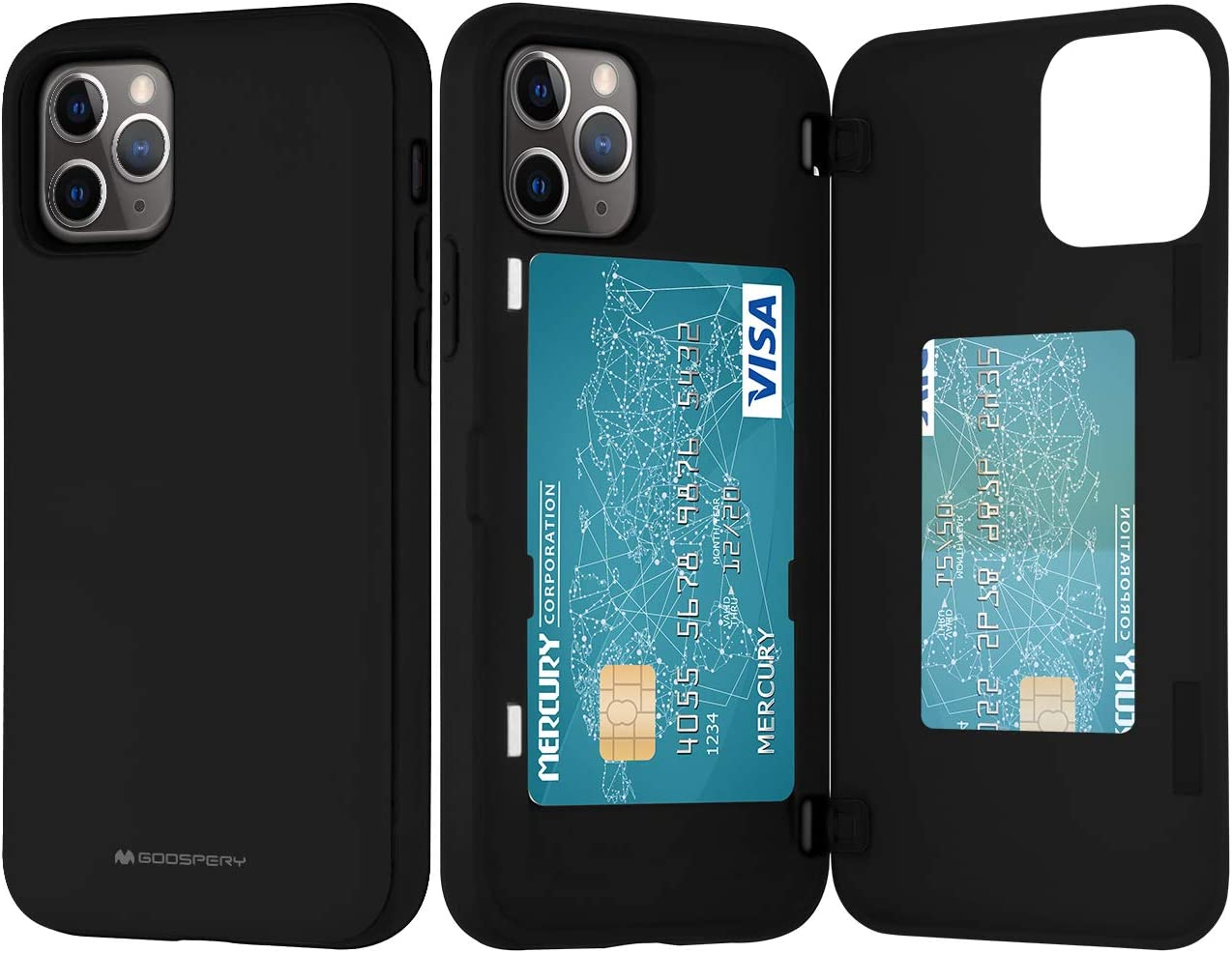 Goospery iPhone 11 Pro Wallet Case with Card Holder, Protective Dual Layer Bumper Phone Case (Black) IP11P-MDB-BLK