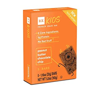 RXBAR, RX Kids Protein Snack Bar, Peanut Butter Chocolate Chip, 1.16oz Bars, 5ct