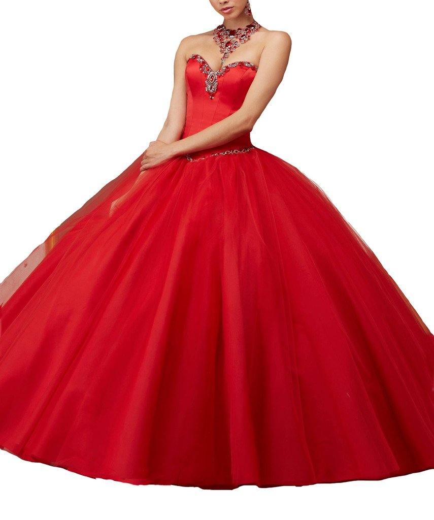 BoShi Women's Wedding Evening Pageant Party Ball GownsChristmas Quinceanera Dresses 0 US Red