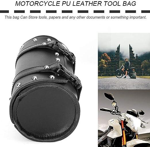 Cuir Universel de Moto en Cuir avec Boucles en Plastique Sac /à Outils Bagagerie Sacoche de Sacoche de Sac de Rangement Multifonctionnel Argent