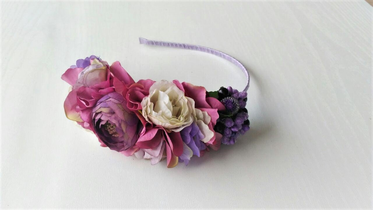 Amazon Headband Flower Purple Floral Crown For Bridesmaid