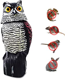 ijoynewk Fake Owl Decoy Statue with Rotating Head Realistic Garden Scarecrow to Scare Birds Crow Away for Garden Yard Home Outdoor Decoration (15 inch)