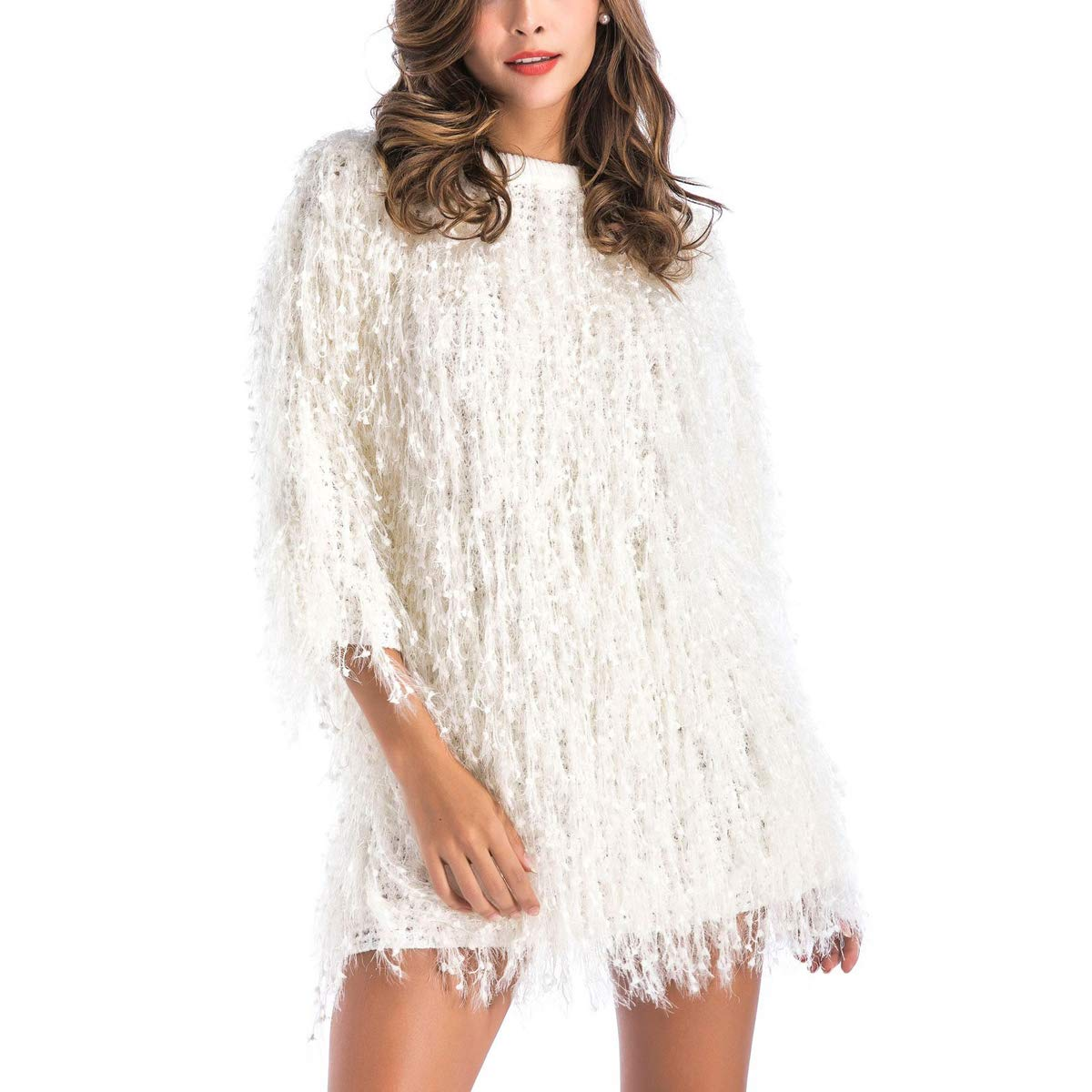 White Christmas Women Faux Fur Women Evening Party Sweater Tassel Coat