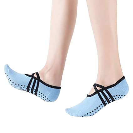 Fodlon Calcetines Yoga Antideslizantes, Calcetines de Deporte con Grips para Pilates, Ballet, Fitness