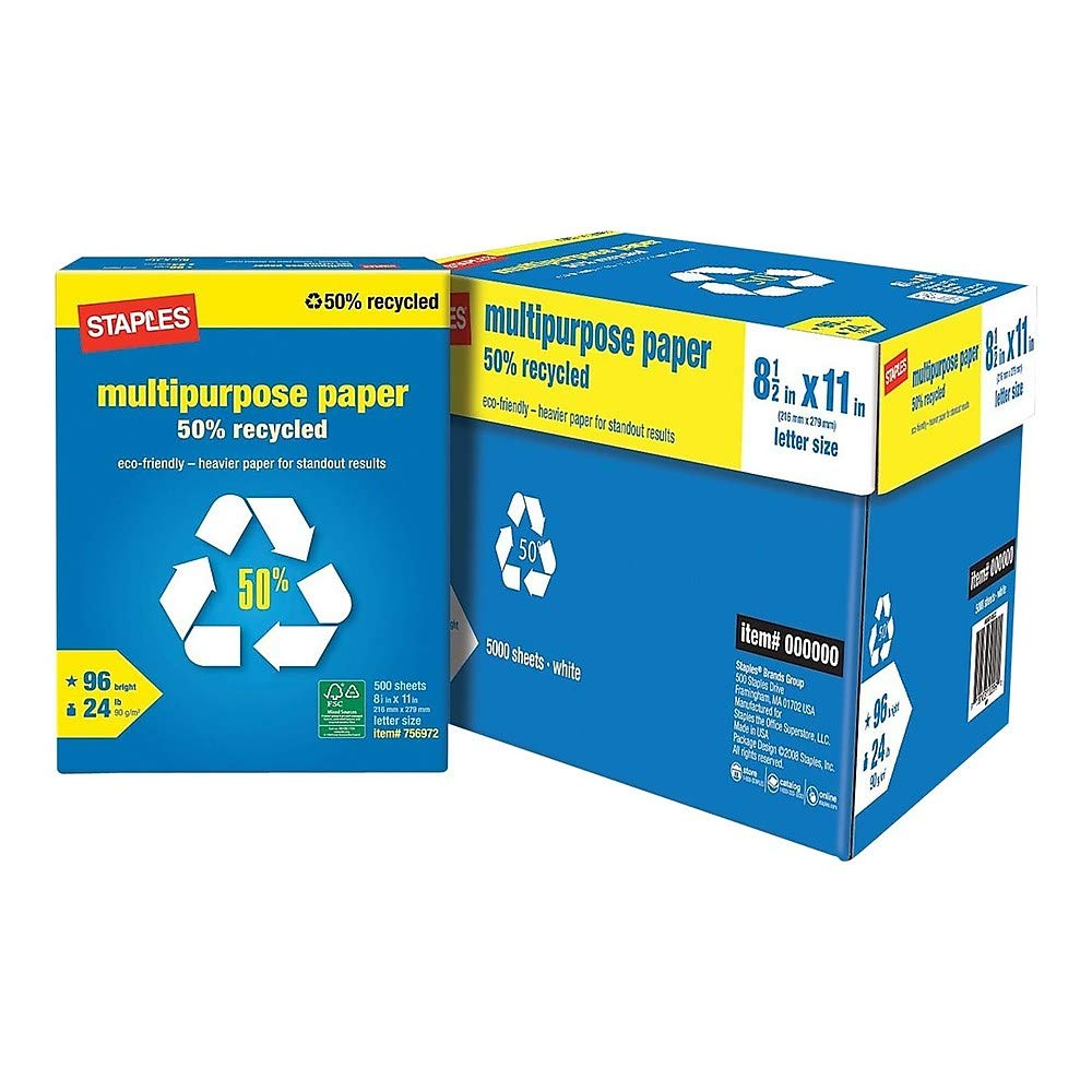 Staples 756860 50% Recycled 8.5-Inch x 11-Inch Multipurpose Paper 24 lbs 96B 10 RM/CT