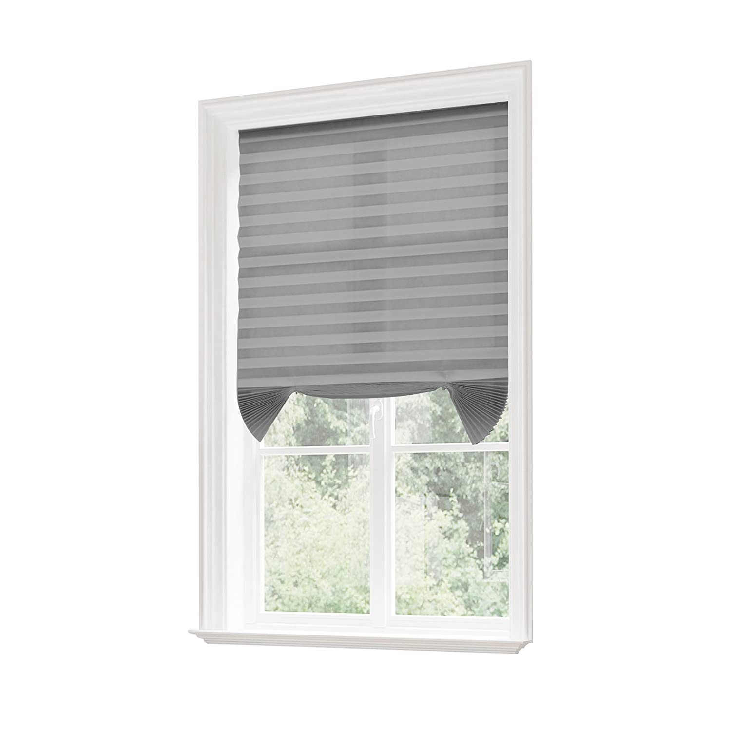 SBARTAR 6 Pack Window Pleated Shades Darkening Cordless Quick Fix Pleated Fabric Window Shades for Home Office Vacation 36