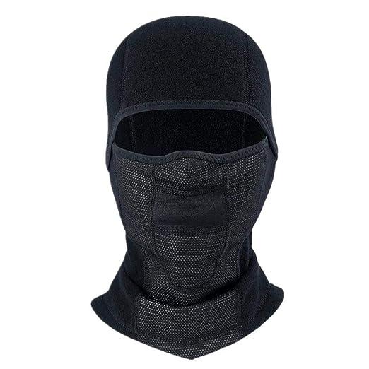 ZARRS Pasamontañas Moto,Balaclava Invierno Máscara Facial Calentar Hombres Mujeres para Moto Bicicleta Esqui Snowboard Negro 45 * 28CM