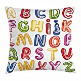Ambesonne Educational Throw Pillow Cushion Cover, Hand Drawn Colorful 3D Style ABC Letters with Kids Patterns Joyful Fun Design, Decorative Square Accent Pillow Case, 16 X 16 Inches, Multicolor