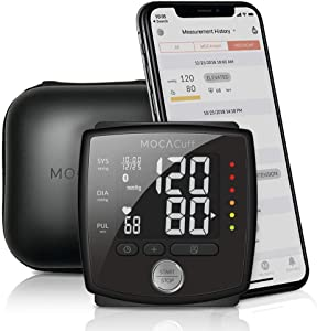 MOCACuff Bluetooth Blood Pressure Monitor, Wireless Fully Automatic Accurate Wrist Blood Pressure Monitor Cuff Portable with hard shell Protector Case and Tracking App for Apple and Android-Black