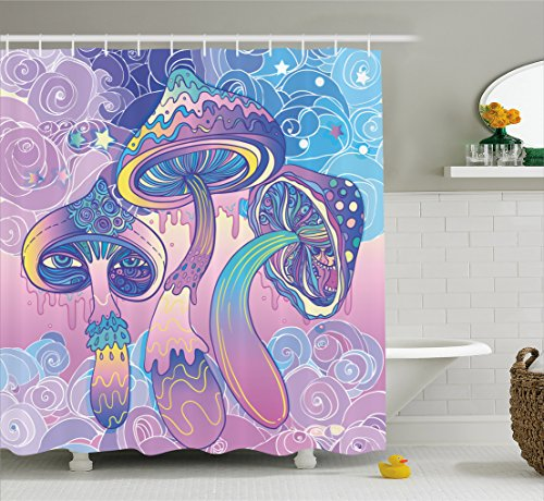 Ambesonne Mushroom Shower Curtain, Trippy Drawing Hippie Decor Sixties Visionary Psychedelic Shamanic, Fabric Bathroom Decor Set with Hooks, 75 Inches Long, Aqua Light Pink Purple