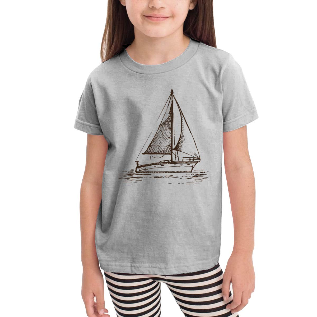 Kids T-Shirt Tops Gray Sailboat in The Sea Unisex Youths Short Sleeve T-Shirt