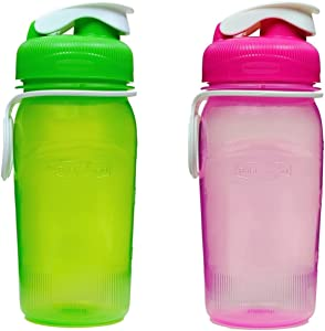 Rubbermaid 14 oz. Reusable Refillable Water Bottle (1 Pack of 2 - Pink & Green)