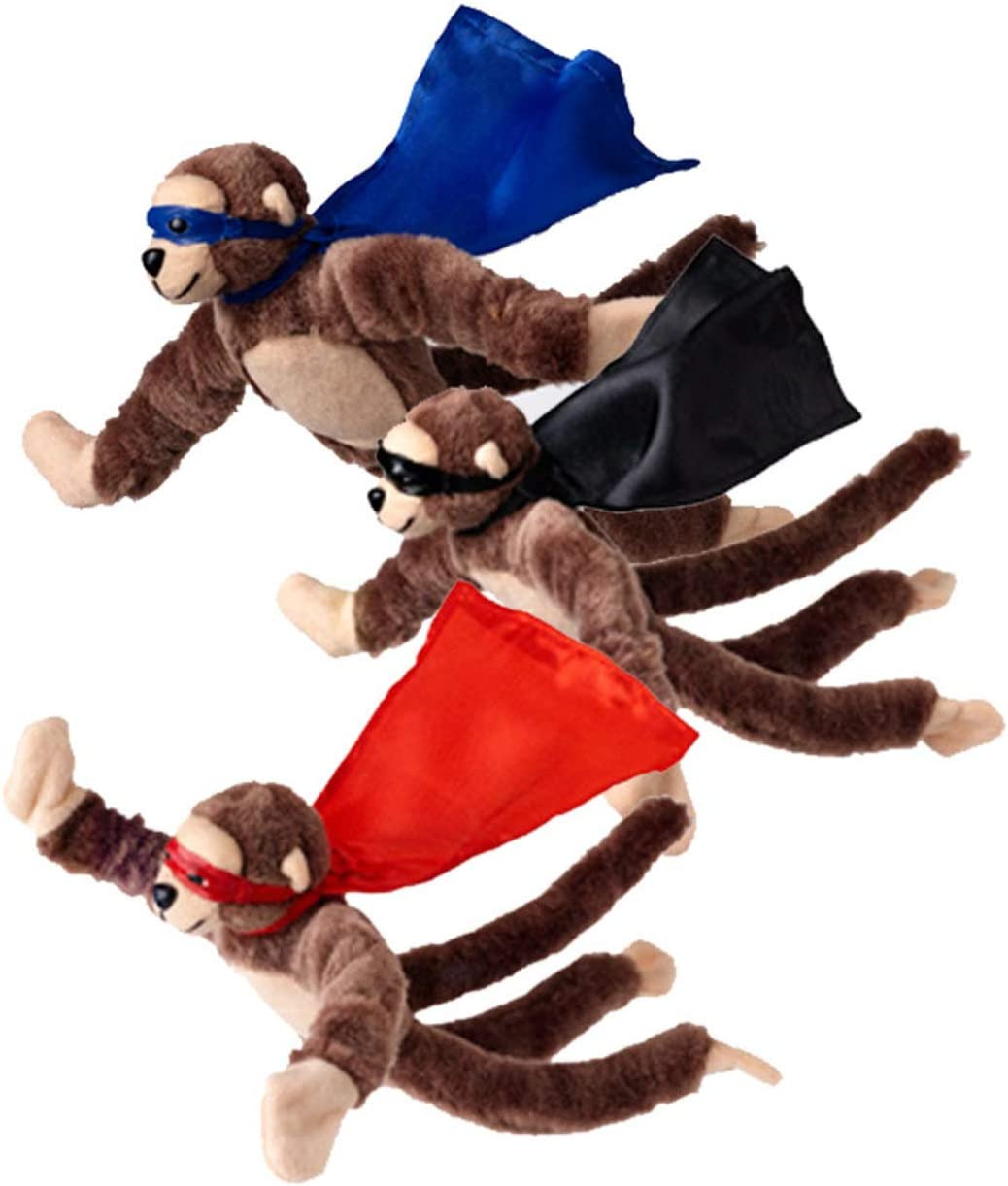 Set of 3 Flying Flingshot Howler Monkeys Plush Toys with Sound, 11.5''H