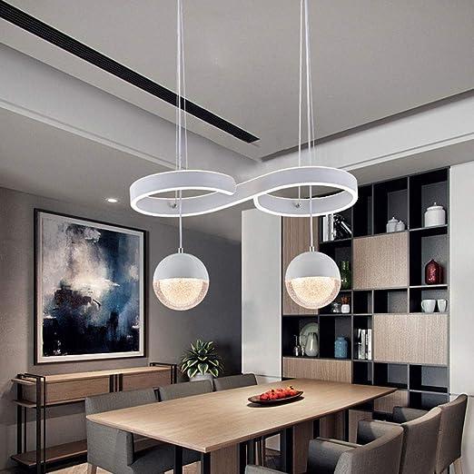 LED lámpara colgante cristal bola y curvas de diseño de luces de techo metal blanco luz colgante de luz blanca caliente 3000K para comedor mesa comedor cocina occidental restaurante dormitorio: Amazon.es: Iluminación