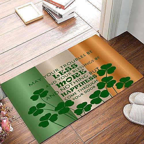 Family Decor Entrance Welcome Door Mat Floor Rug Indoor Outdoor Front Door Entryway Bath Mats Non-Slip Doormats Shoe Scraper 18 x 30 , Happy Greetings for St. Patrick s Day Irish Flag Lucky Shamrock
