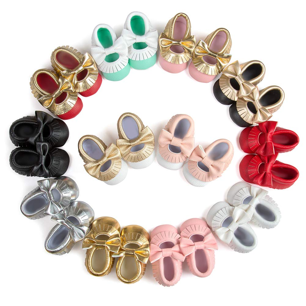 Golden Black 12cm Alamana Bowknot Tassel Infant Baby Girls Soft Sole Anti-Slip Prewalker Toddler Shoes