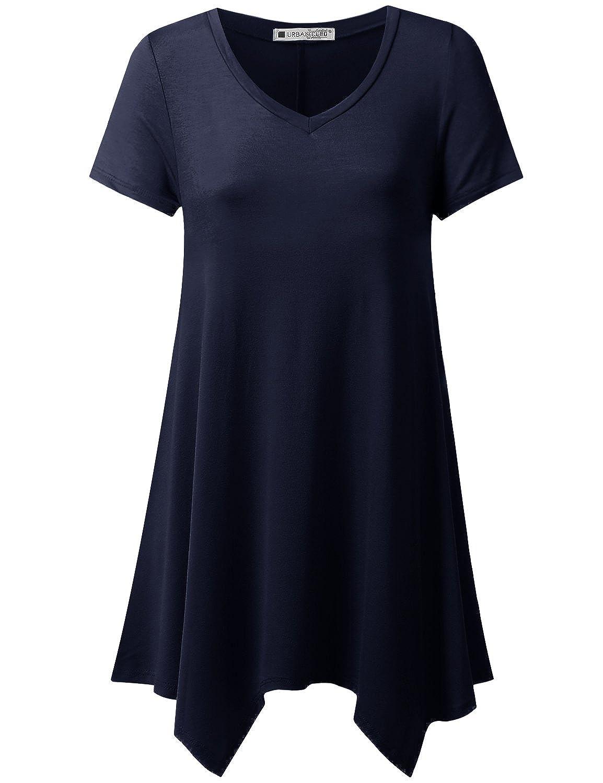 URBANCLEO Womens Handkerchief Hem Tunic Top Long T-Shirt (Plus