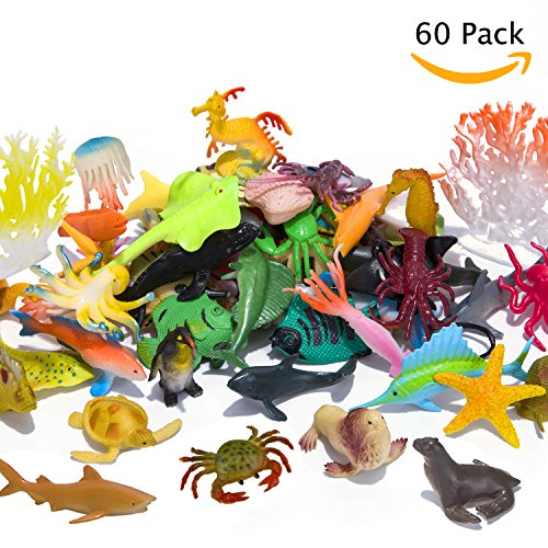 Bath Creature (Ocean Sea Animals Figures, 60 Pack Mini Plastic Deep Underwater Life Creatures Set, STEM Educational Shower Bath Toys Gift for Baby Toddler Cupcake Toppers Party Supplies with Turtle Octopus Shark)