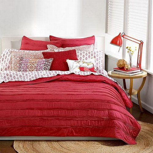 Bar III Ruffled Collection Solid Coral Ruffle Cotton King Coverlet Coral