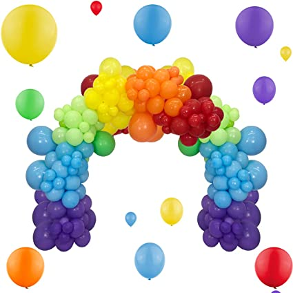 118pcs Rainbow Balloon Garland Arch Kit Assorted Color 5 Inch 12 Inch 18 Inch Balloons Gold Confetti Balloons Set for Birthday Wedding Baby Shower Mexican Fiesta Decorations