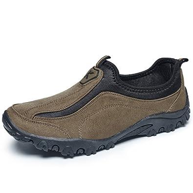 Les Hommes En Daim Glissement Élastique Sur Wearable Chaussures De Marche En Plein Air UleFuTM