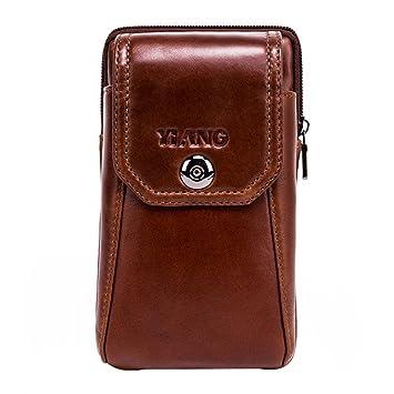 Funda Vertical de piel, estilo cinturón, bolso, de cintura – PAWACA, funda para el móvil, pequeña, de viaje, para Hombres, Niños (marrón)