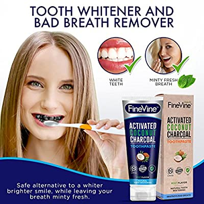 Charcoal Teeth Whitening Toothpaste - Made in USA - WHITENS TEETH NATURALLY and REMOVES BAD BREATH - Best Natural Vegan Organic Toothpaste