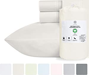 100% Organic Cotton Sheets - Crisp and Cooling Percale Weave, GOTS Certified 4 Piece Bedding Set, Deep Pocket with All-Around Elastic (Queen, Ivory)