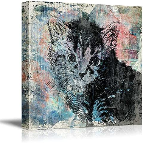 Square Cat Series A Little Kitty on Colorful Grunge Background