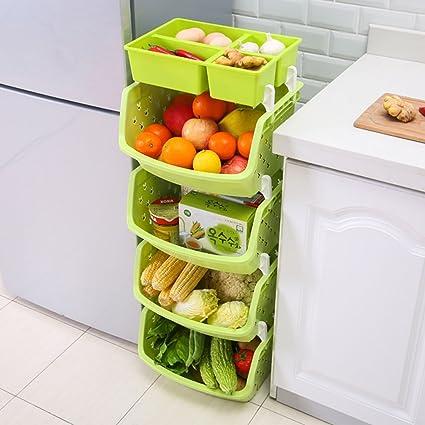 Yxx max *Carrito verdulero Cocina Estante Verduras Frutas Piso Estante de Almacenamiento de Cocina de