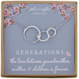 Generations Necklace for Grandma Gift - Sterling Silver Infinity 3 Circle CZ Necklace Mom Granddaughter Grandson Jewelry…