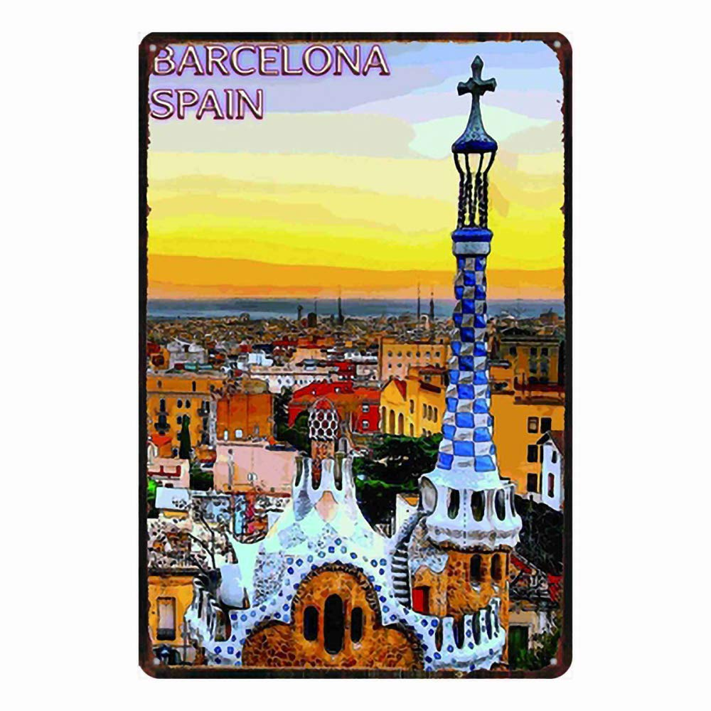 Hunnry Barcelona Spain Poster Póster De Pared Metal Vintage Placa ...