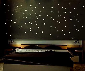 INDIGOS UG Indigos LSS1 Leuchtpunkte floureszierend für Sternenhimmel,  runde Leuchtsterne selbstklebend ideal für Kinderzimmer und Schlafzimmer,  256 ...