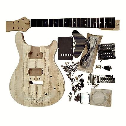 gd815 Caoba Cuerpo Con Spalted Arce Chapa Top Guitarra Eléctrica DIY Kit con tornillos