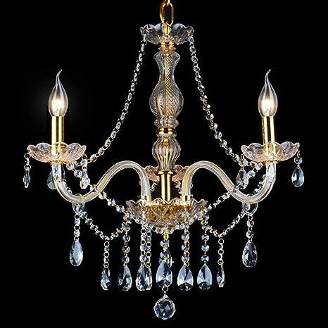 Araña De Cristal Lámpara De Techo De Cristal De Vela Europea Sala De Estar Lámpara con 3 Luces