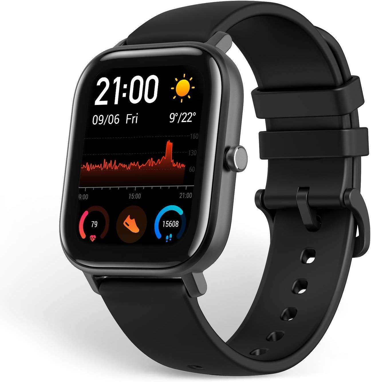 Amazfit GTS Reloj Smartwactch Deportivo | 14 días Batería | GPS+Glonass | Sensor Seguimiento Biológico BioTracker™ PPG | Frecuencia Cardíaca | Natación | Bluetooth 5.0 (iOS & Android) Negro