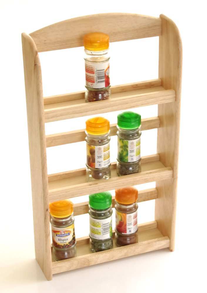 Wooden 3 Tier Spice Rack Holds upto 15 Jars iOSSS