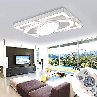 Deckenlampe LED Deckenleuchte 90W Wohnzimmer Lampe Modern Deckenleuchten  Kueche Badezimmer Flur Schlafzimmer (Weiß, 90W-Dimmbar)