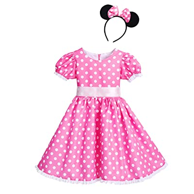 Girls Vintage Polka Dots Christmas Princess Dress Cosplay Fancy Ballet Dance Leotard Tutu Birthday Outfits with Headband: Clothing