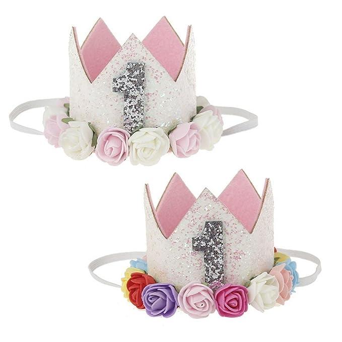 Amazon.com: 2 unidades de diadema para bebé princesa Tiara ...