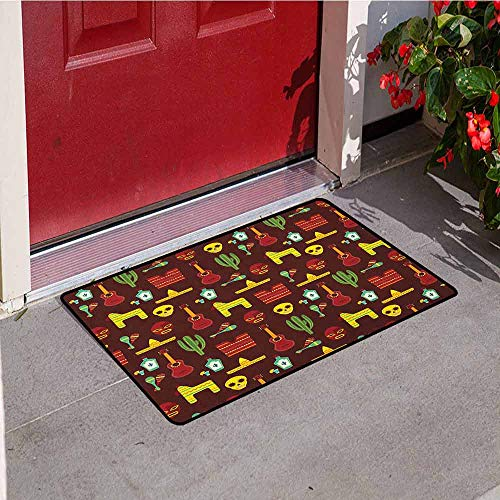 GloriaJohnson Mexican Universal Door mat Pattern with Traditional Cultural Elements Music Accessories Tequila and Saguro Door mat Floor Decoration W31.5 x L47.2 Inch ()