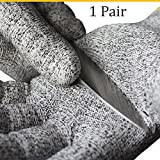 CutGuard Cut Resistant Gloves SCG-25 - Level 5 Cut Protection, Best for Kitchen and Work, Food Grade, Lightweight and Snug, EN388:4542. 1 Pair, Grey (Small)
