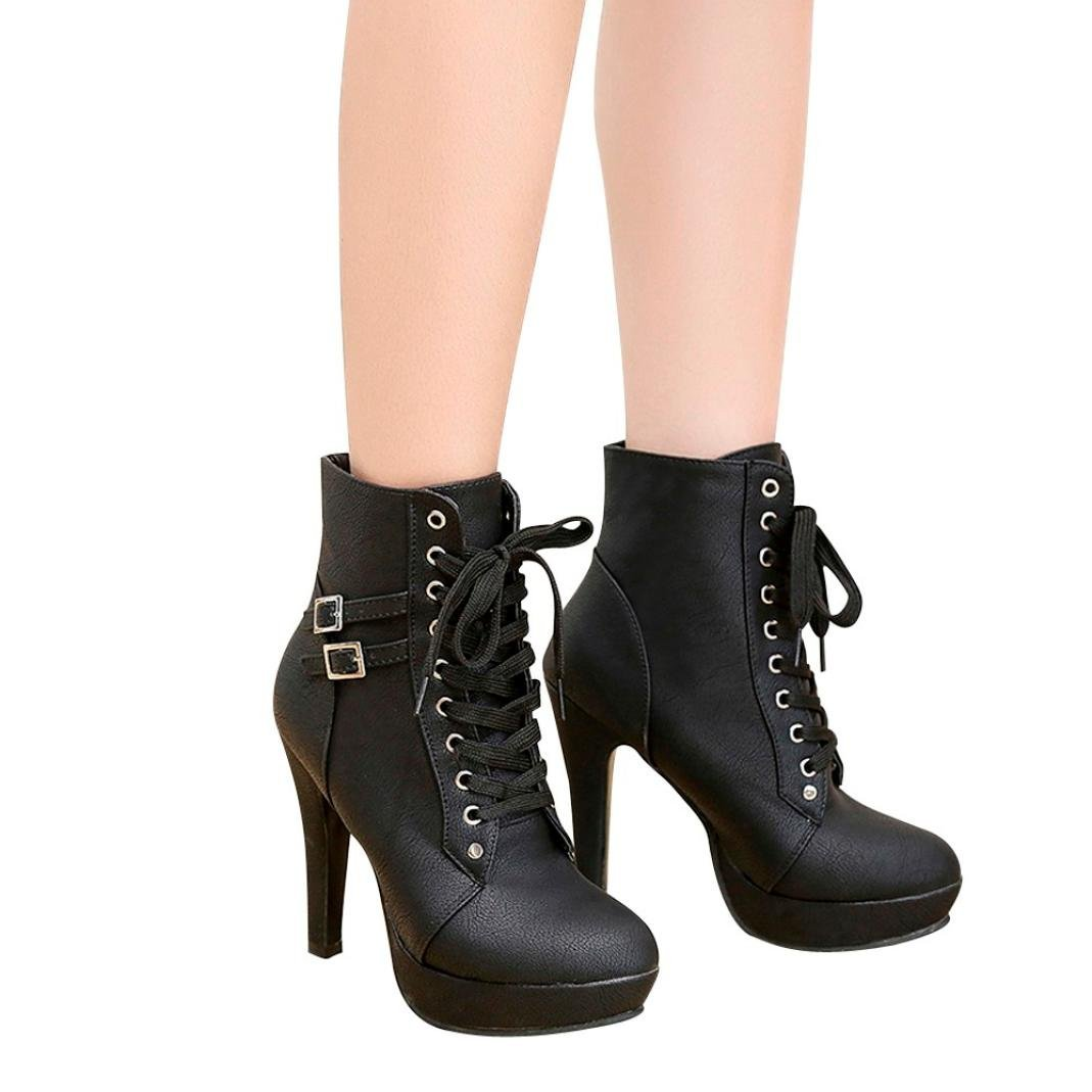 Clearance❤️Women Short Boots, NEARTIME Fashion Women Round Head Leather Shoes Lace-up Platform Boots High Heeled Martin Boots