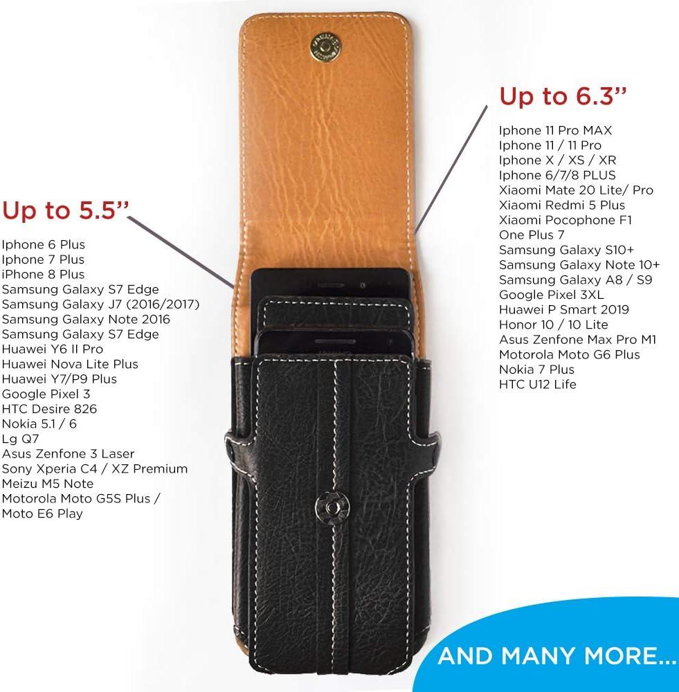 Samsung Galaxy Note 4 Huawei Y6 para Tel/éfonos hasta 5.7 Pulgadas XL Negro axelens Elegante Funda en Cuero Piel Sint/ética/con Trabilla y Cierre Magn/ética por iPhone 7//8 Xiaomi Redmi Note 2 3 4