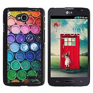 Paccase / SLIM PC / Aliminium Casa Carcasa Funda Case Cover - Colors Rainbow Pastel Bucket - LG Optimus L70 / LS620 / D325 / MS323