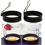 Kemilove 2 PCS Nonstick Stainless Steel Handle Round Egg Rings Shaper Pancakes Molds Ring