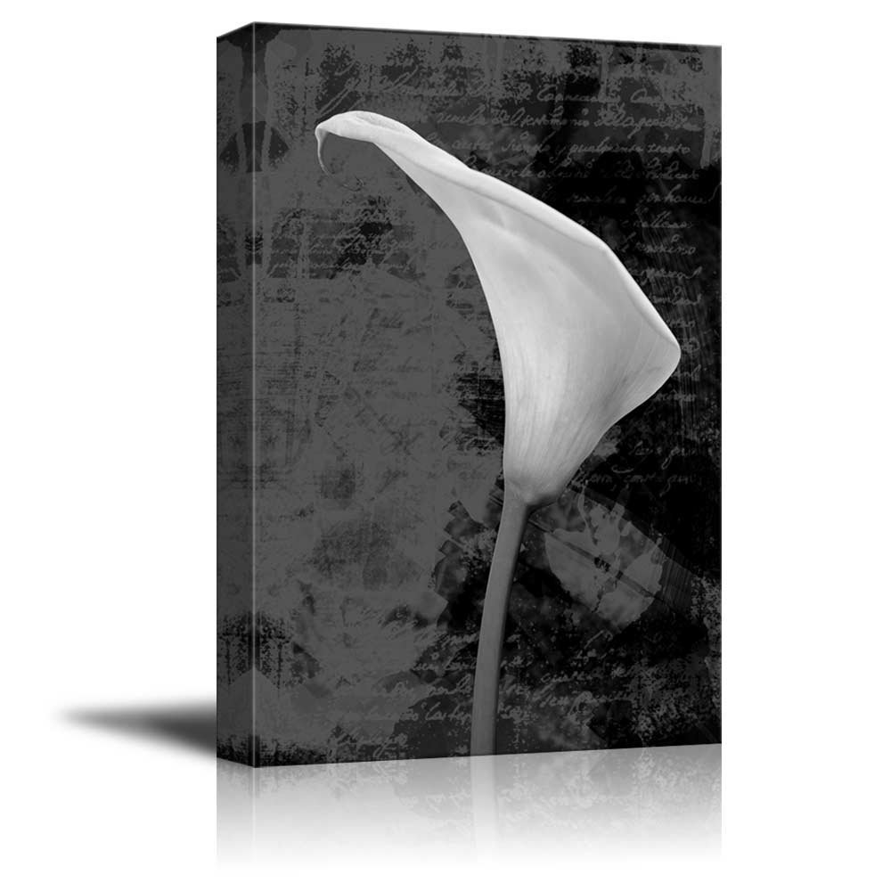 wall26 - Black and White Vintage Style Calla Lily with Script in The Background - Canvas Art Home Decor - 16x24 inches by wall26