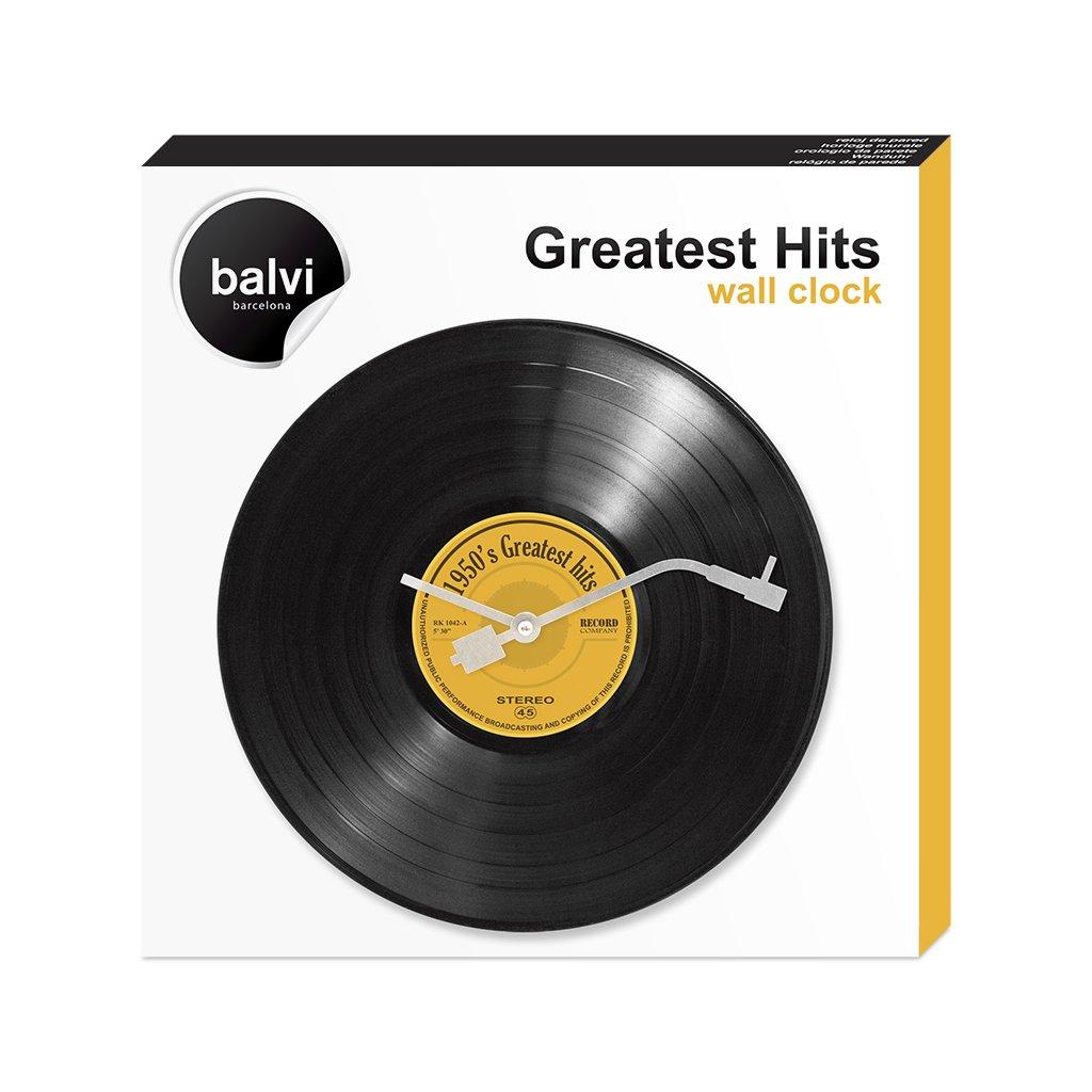 Balvi reloj de pared Greatest Hits! Imita un disco musical de vinilo El minutero es como la aguja de un reproductor de discos 30 cm de diámetro Diseño ...