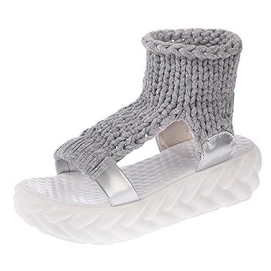 FNKDOR Damen Sandalen Plateau Schuhe Gestrickte Damenschuhe Sandaletten